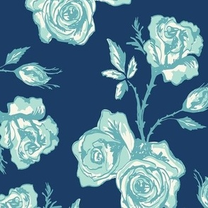 Sketchy Roses on Navy Ground