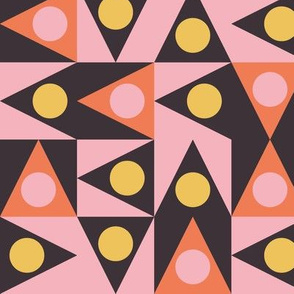 Patchwork Triangles Discs Deco Geo, Samba Brazilia, pink, yellow and orange