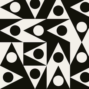Patchwork Triangles Discs Deco Geo, black and off white
