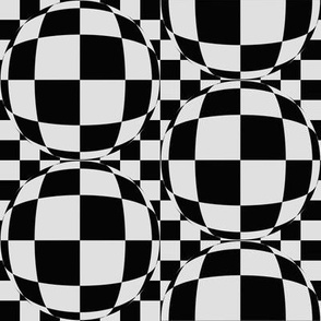 JP2 -   Medium - Bubbly Op Art Checks in Grey and Black
