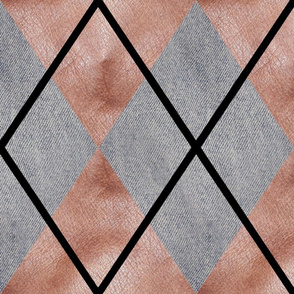 Denim and Leather Argyle Large Scale by Shari Lynn's Stitches