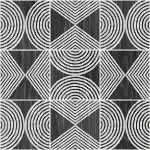 Boho Tribal Woodcut Neutral Geometric Shapes on Ebony Wood