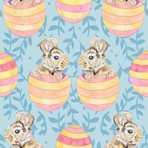 Striped Easter Egg Bunny Rabbits on Blue Ferns