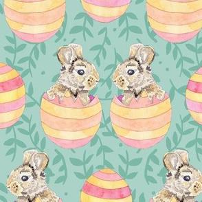 Striped Easter Egg Bunny Rabbits on Ferns