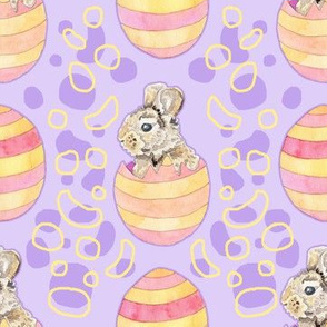 Striped Easter Egg Bunny Rabbits on Purple