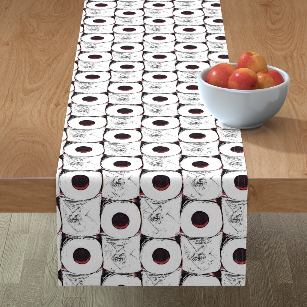 Minorca Table Runner featuring Toilet paper crisis by dustydiscoball