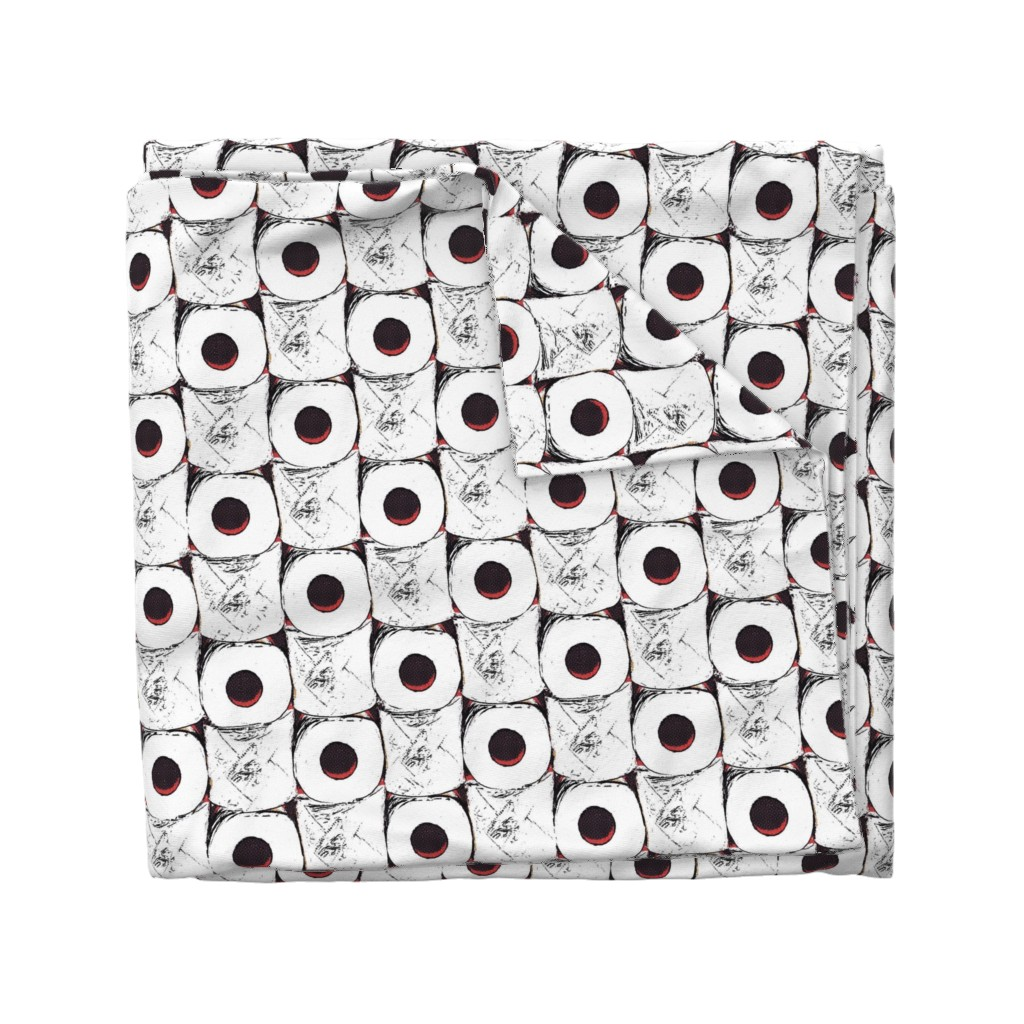 Wyandotte Duvet Cover featuring Toilet paper crisis by dustydiscoball