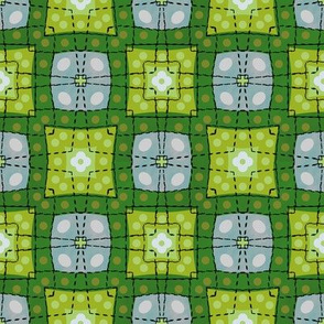 70s style check bedsheet - green