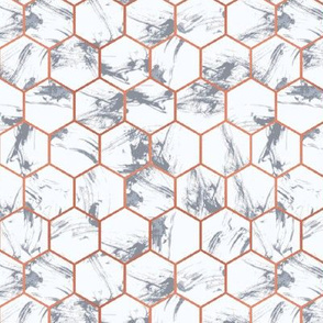 Marble Hexagons with Copper Gilt