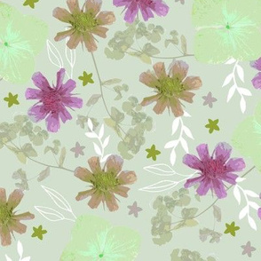 Pressed Flowers green and lilac