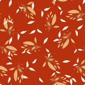 Yellow herbs on red. Hand drawn.