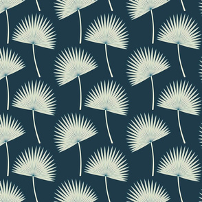 Boho Sunshine Palm Leaves on Midnight small scale
