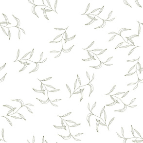 Green palm leaves on white. Hand drawn