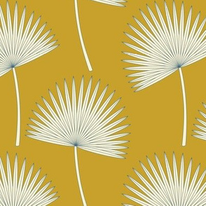 Boho Sunshine Palm Leaves on mustard green small scale