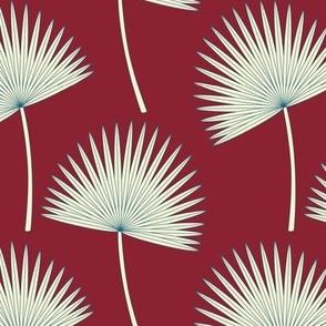 Boho Sunshine Palm Leaves on burgundy small scale