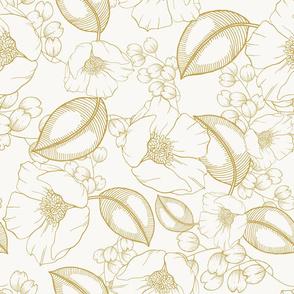 Golden botany. Hand drawn