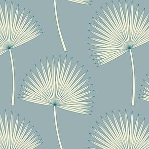 Boho Sunshine Palm Leaves on blue-gray small scale