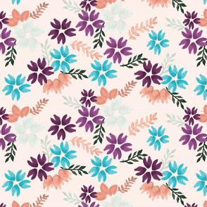 PeachPurpleBlue Floral