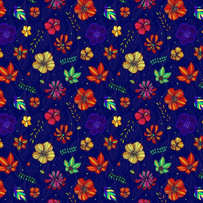 Tropical hand-drawn bright flowers classic blue