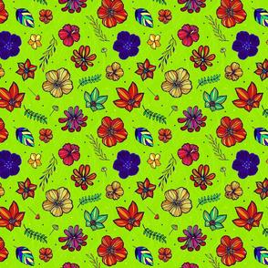 Tropical hand-drawn bright green
