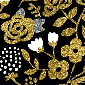 Gold Glitter Floral