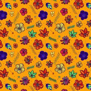 Tropical hand drawn flowers 04- orange