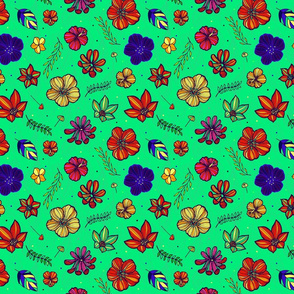 Tropical hand drawn flowers 05 mint