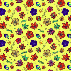 Tropical hand drawn flowers 06-Yellow