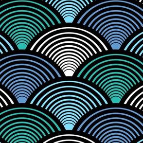 Fan Pattern Blue Teal Medium
