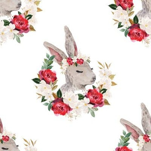 red rose magnolia rabbit - 5 inch wide