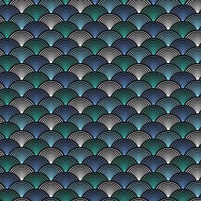 Fan Pattern Blue Teal Small