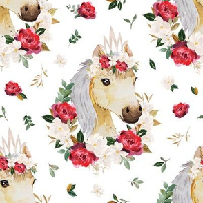 red rose magnolia floral horse - 4 inch wide