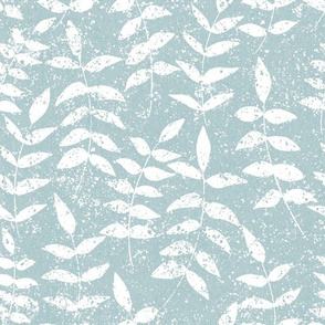 Tranquil Blue & White Leaf Floral Texture