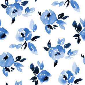 Classic blue watercolor roses Large scale