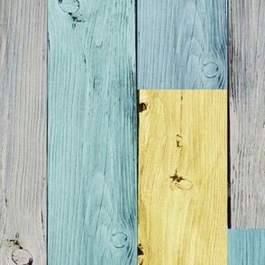 wooden panel ♦ grey ♦ teal ♦ yellow