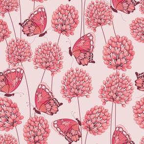 Allium & Butterflies Pink