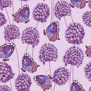 Allium & Butterflies Purple