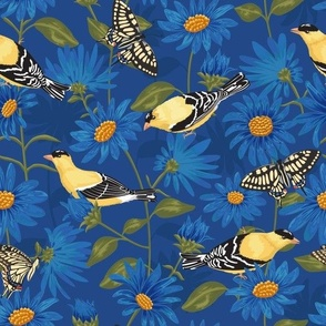 Goldfinches & Asters Blue