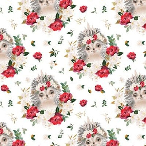 red rose magnolia hedgehog floral - 3 inch wide