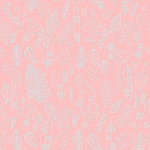 Tropical leaves pink and soft blue