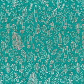 Tropical leaves hand-drawn tourqoise and pink gradient