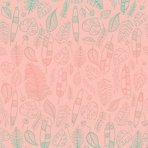 Tropical leaves mint and pink gradient
