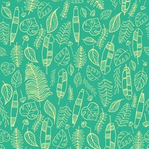Tropical leaves mint and yellow