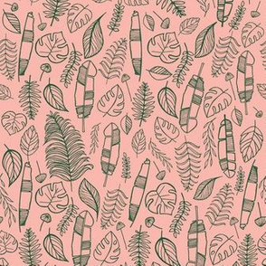 Tropical leaves  pink and dark green