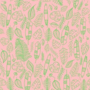 Tropical leaves pink and light green