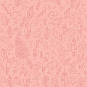 Tropical leaves pink over pink