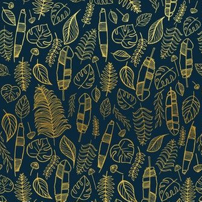 Tropical leaves blue and gold