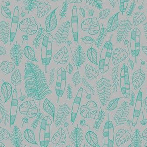 Tropical leaves grey and turquoise