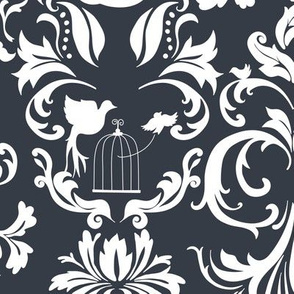 Dark Gray Damask (large)