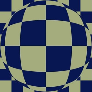 JP31 -  Large Scale - Bubbly Op Art Checks in Navy Blue and Pastel Olive